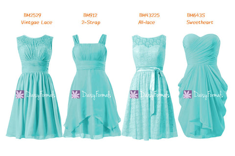 Aqua Bridesmaids Dress Short Knee Length Turquoise Party Dress Collection (MM66)