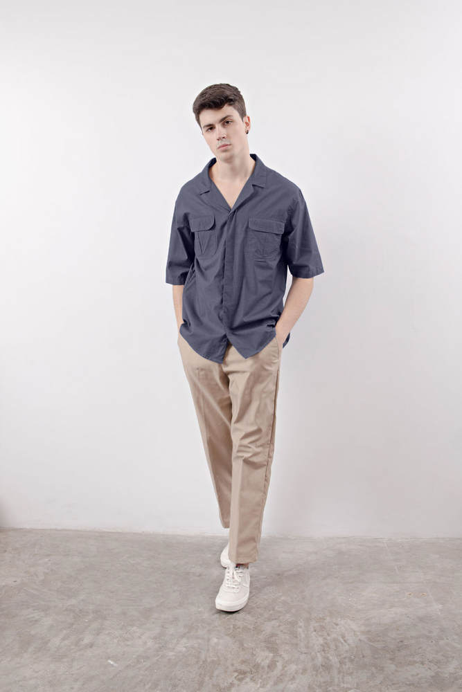 NOTCHED POCKET SHIRT (Gray)