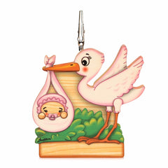 Bartolucci Clip Picture Holder Pink Stork