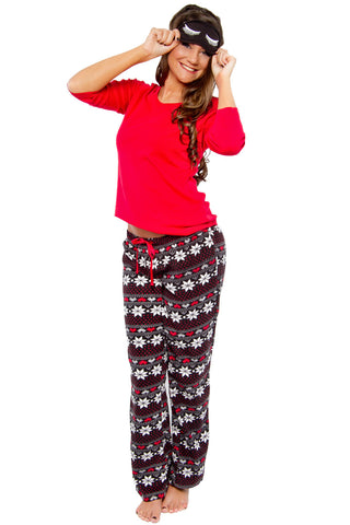 Plush Snowflake Print Pajama Set w/ Reversible Eye Mask Lounge - Lingerie Basement