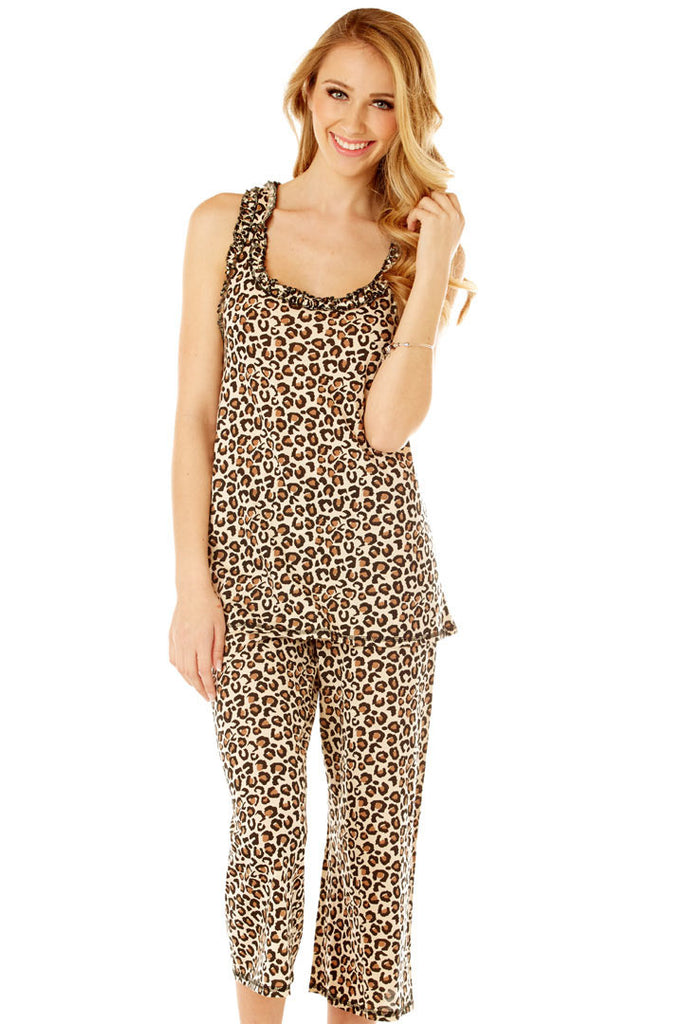 Gabriella Capri Animal Print Set Lounge - Lingerie Basement