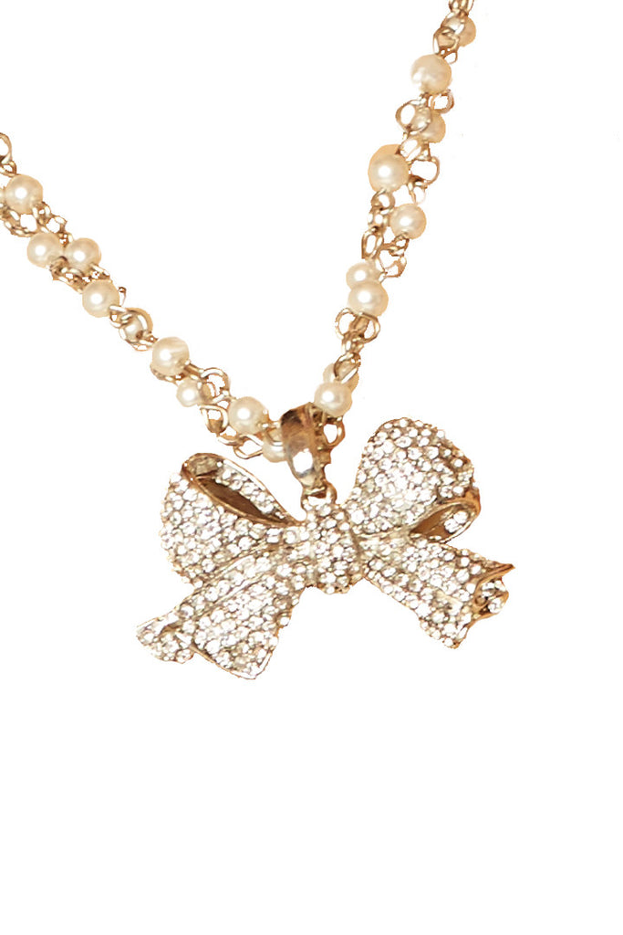 Glitter Bow Necklace Accessories - Lingerie Basement