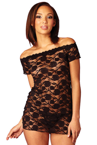 Black Lace Chemise/Top/Cover Up - Scandal Lingerie - Lingerie Basement