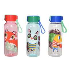Leak proof lunch bottles for kids, with Fox, dog and hedgehog illustrations by Helen Dardik for Petit Monkey