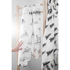 Muslin blankets Ohoy and Gran pine tree black and white by Fine Little Day