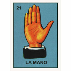Colourful retro  Loteria poster La Mano by Kitsch Kitchen, with a beautiful illustration of a hand taken from vintage Mexican vocabulary prints.  Gorgeous, colourful and affordable decoration, wouldn't it look fab in the hallway to great your guests?