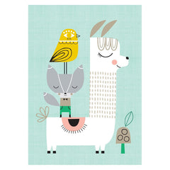 Lama and Friends A3 print by Suzy Ultman for Petit Monkey