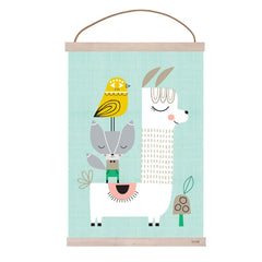 Lama and Friends A3 print by Suzy Ultman and wooden frame maple by Ferm Living