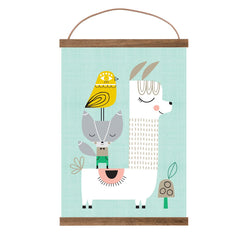 Lama and Friends A3 print by Suzy Ultman and wooden frame oak by Ferm Living