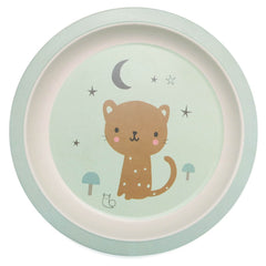 Bamboo plate Leopard, mint by Little Cube for Petit Monkey