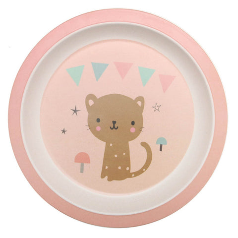 NEW * Bamboo plate Leopard, peach - Little Cube
