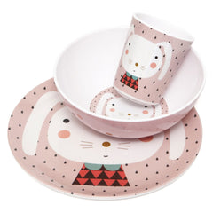 Melamine cup, plate and bowl Rabbit by Haciendo el Indio for Petit Monkey