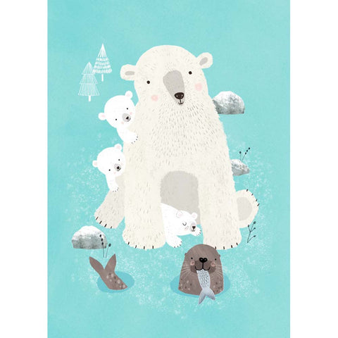 Nanook & cubs postcard or mini print - Rebecca Jones