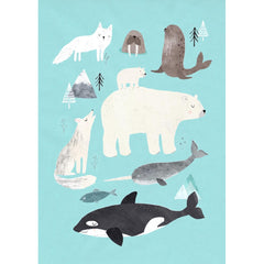 Arctic Animals postcard or mini print by Rebecca Jones for Petit Monkey