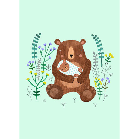 Baby Bear postcard or mini print - Rebecca Jones