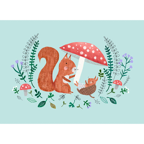 Baby Squirrel postcard or mini print - Rebecca Jones
