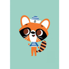 Racoon postcard or mini print by Tiago Americo for Petit Monkey