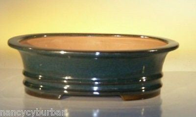 "Glazed Ceramic Bonsai Pot Oval Dr. Green 10"" x 8"" x 3"""