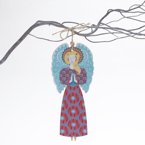 Large Angel Christmas tree decoration with blue wings