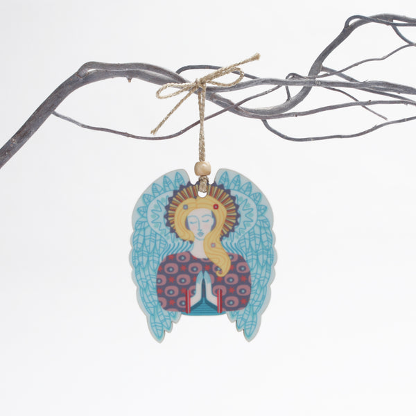 angel design christmas tree decoration with blue wings