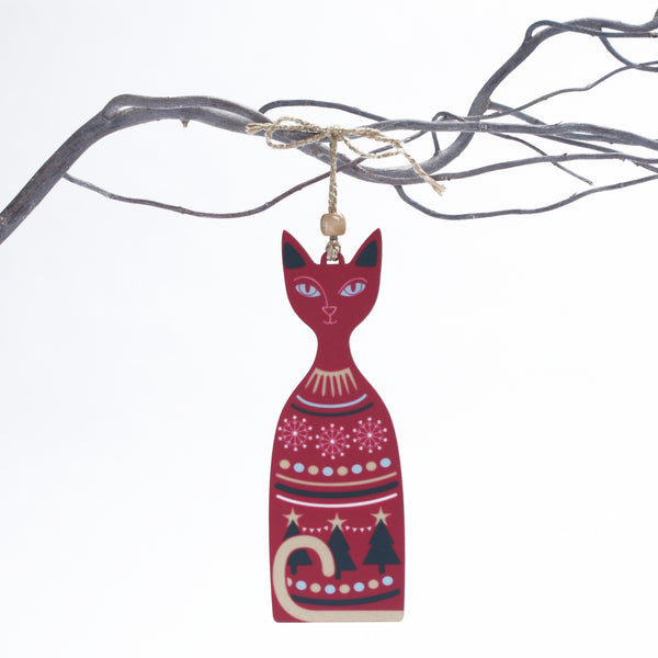 Christmas Cat design wooden Christmas tree decoration in red colour way designed and made by Beyond the Fridge