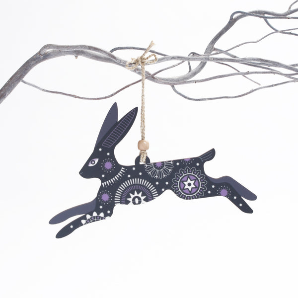 Leaping hare christmas tree decoration - black