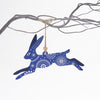 Leaping hare christmas tree decoration - blue