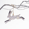 Leaping hare christmas tree decoration - grey