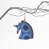 retro blue unicorn design christmas tree decoration