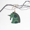 retro green unicorn design christmas tree decoration