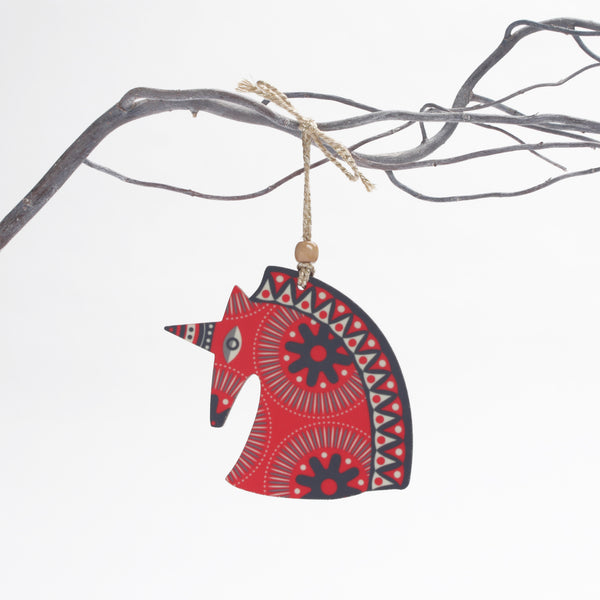 retro red unicorn design christmas tree decoration
