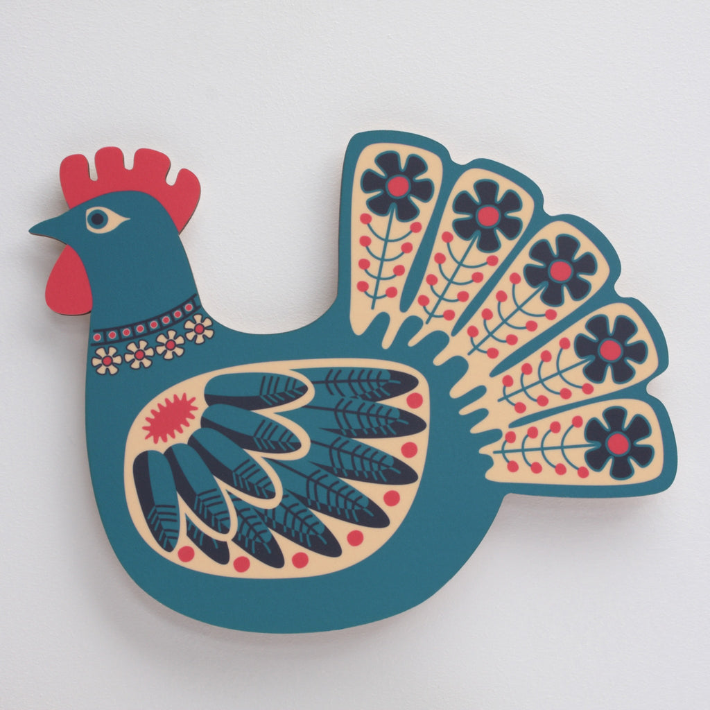blue hen wall art product photo shown mounted on a wall