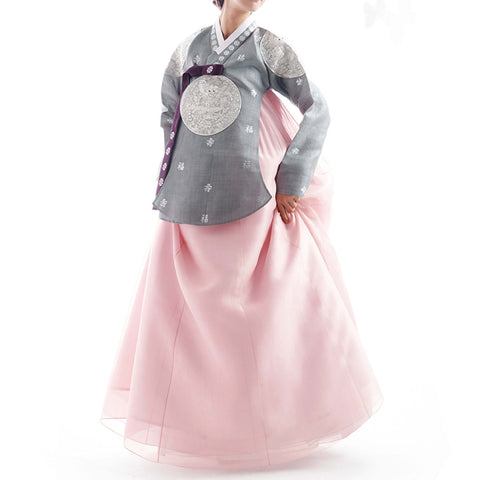 silver dangee and pink hanbok