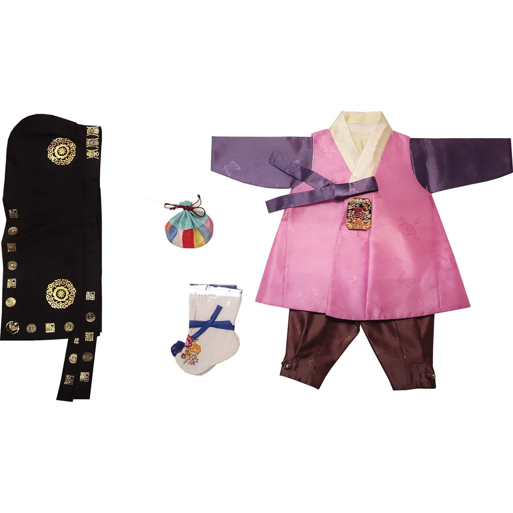 Pink with patch and Brown - Boy Dol Hanbok Set - 6 Pieces
