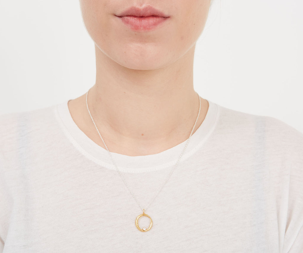 Organic Link Charm with Stone Gold Maya Magal London