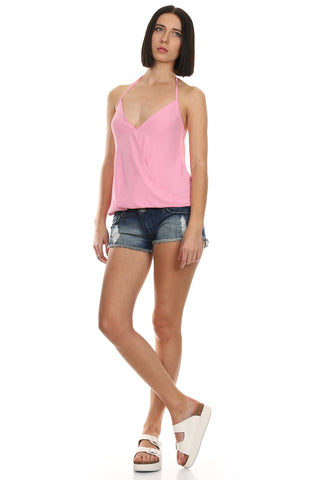 Pink Sleeveless Wrap Top-5