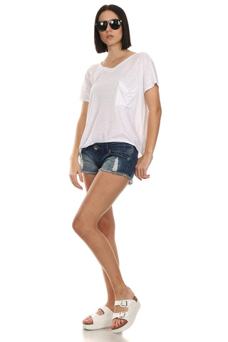 V-Neck Slub Tee Shirt-1