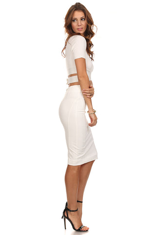 Juvilyn - Zippered Back Pencil Skirt