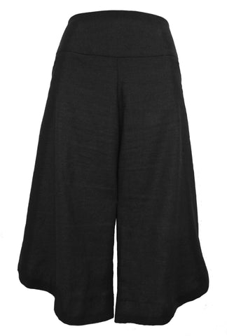 A STRETCH LINEN SHORT WITH SCALLOPED HEM - Black