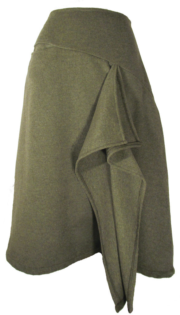 Wool Waterfall Skirt in Moss Green