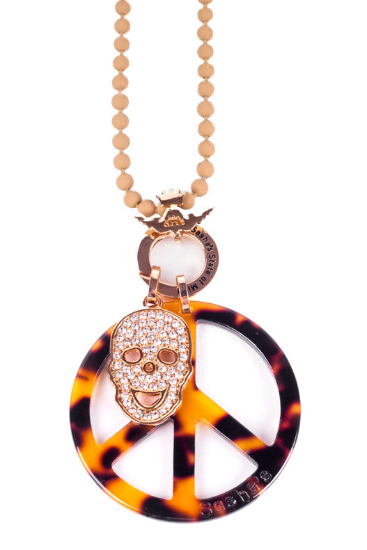 Peace and Skull Necklace