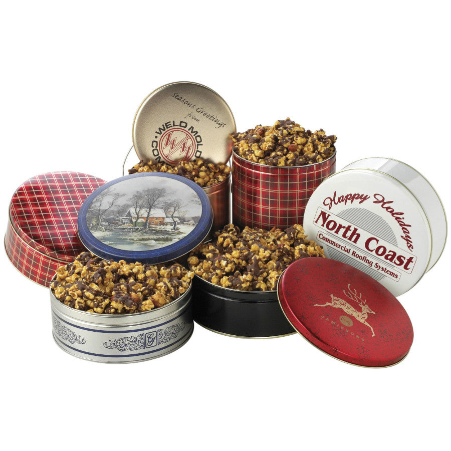 Chocolate Caramel Corn Gift Tins