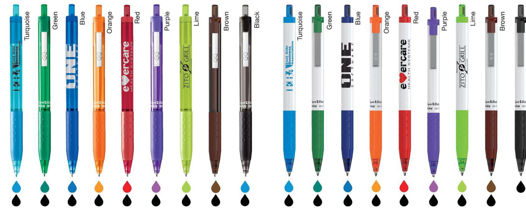 Retractable Pens with Colored Ink