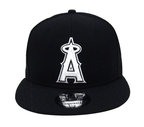 Anaheim Angels Snapback New Era White Logo & Snaps Cap Hat Black
