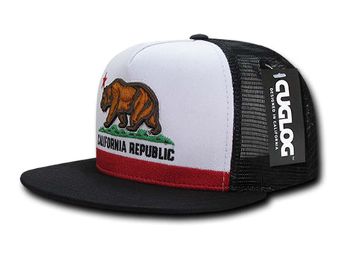 California Republic Snapback Bear Trucker Cap Hat Black White