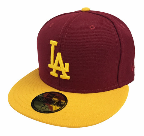 Los Angeles Dodgers Fitted New Era 59Fifty USC Colors Cap Hat Burgundy Yellow
