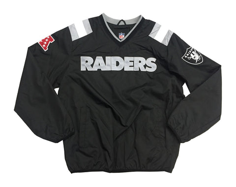 Oakland Raiders Mens NFL Windbreaker V-Neck Jacket