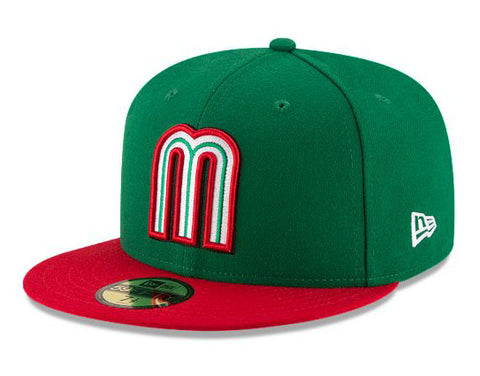 "Mexico Fitted New Era 59Fifty World Baseball Classics Original ""m"" Logo Green Red Cap Hat"