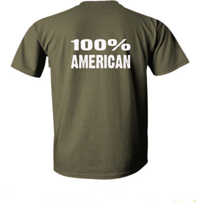 100% American tshirt - Ultra-Cotton T-Shirt Back Print Only S-Military Green- Cool Jerseys - 1