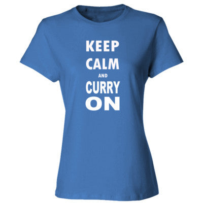 Keep Calm And Curry On - Ladies' Cotton T-Shirt S-Carolina Blue- Cool Jerseys - 1
